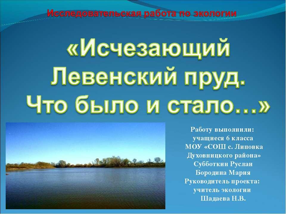 Работу выполнили: учащиеся 6 класса МОУ «СОШ с. Липовка Духовницкого района» ...