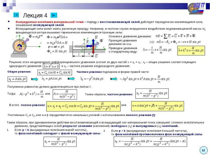 Лекция 4 Вынужденные колебания материальной точки – Наряду с восстанавливающе...