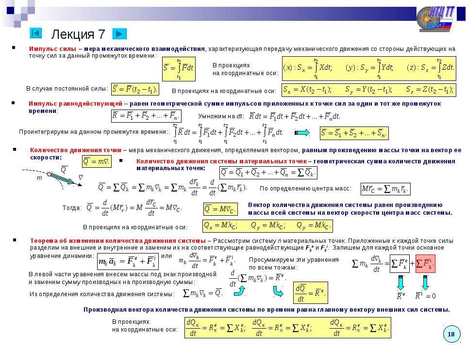 Лекция 7 Импульс силы – мера механического взаимодействия, характеризующая пе...