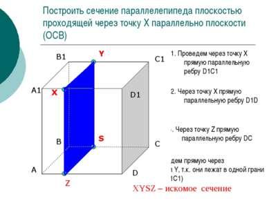 Построить сечение параллелепипеда плоскостью проходящей через точку Х паралле...