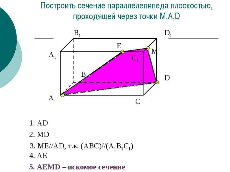 A1 А В В1 С С1 D D1 Построить сечение параллелепипеда плоскостью, проходящей ...
