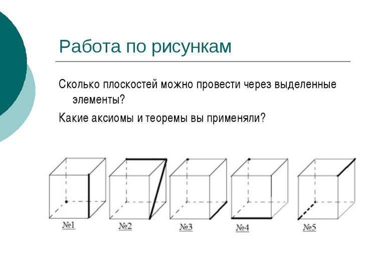 Работа по рисункам Сколько плоскостей можно провести через выделенные элемент...