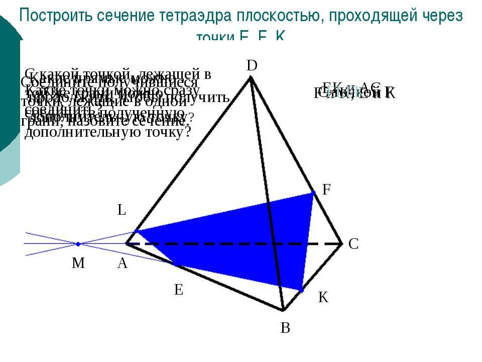 Построить сечение тетраэдра плоскостью, проходящей через точки E, F, K E F K ...