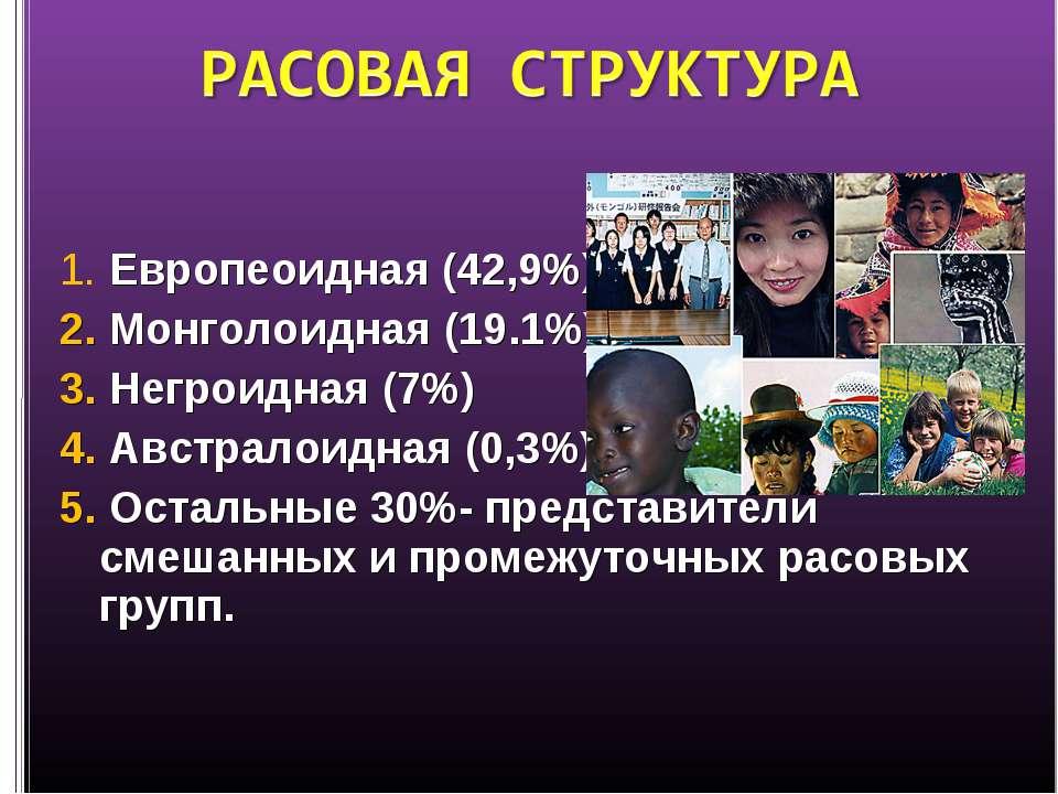 1. Европеоидная (42,9%) 2. Монголоидная (19.1%) 3. Негроидная (7%) 4. Австрал...