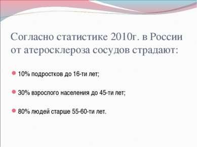 Согласно статистике 2010г. в России от атеросклероза сосудов страдают: 10% по...