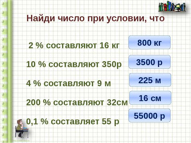 Найди число при условии, что 2 % составляют 16 кг 10 % составляют 350р 4 % со...