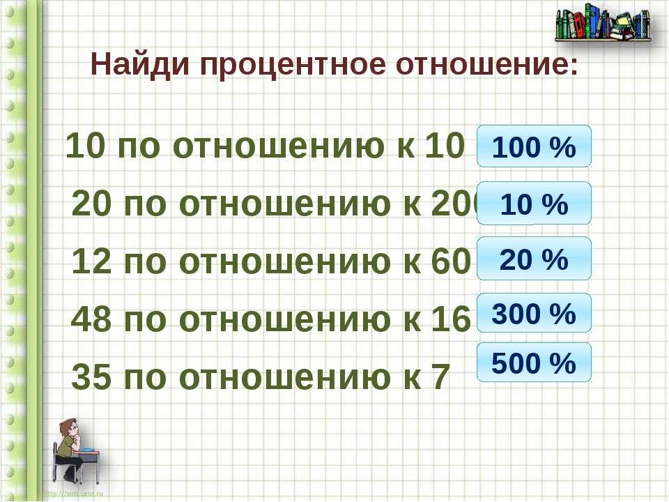 Найди процентное отношение: 10 по отношению к 10 20 по отношению к 200 12 по ...