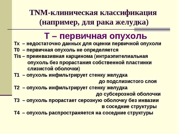 TNM-клиническая классификация (например, для рака желудка) Tx – недостаточно ...