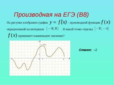 Производная на ЕГЭ (В8) На рисунке изображен график – производной функции опр...