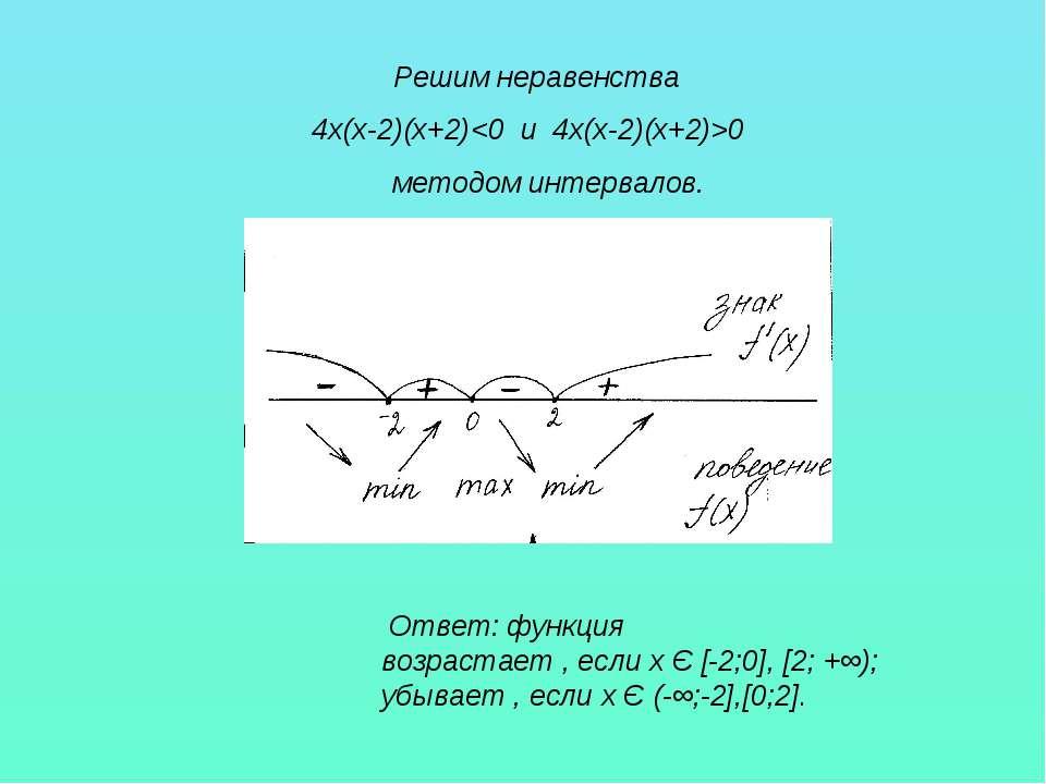 Решим неравенства 4х(х-2)(х+2)0 методом интервалов. Ответ: функция возрастает...