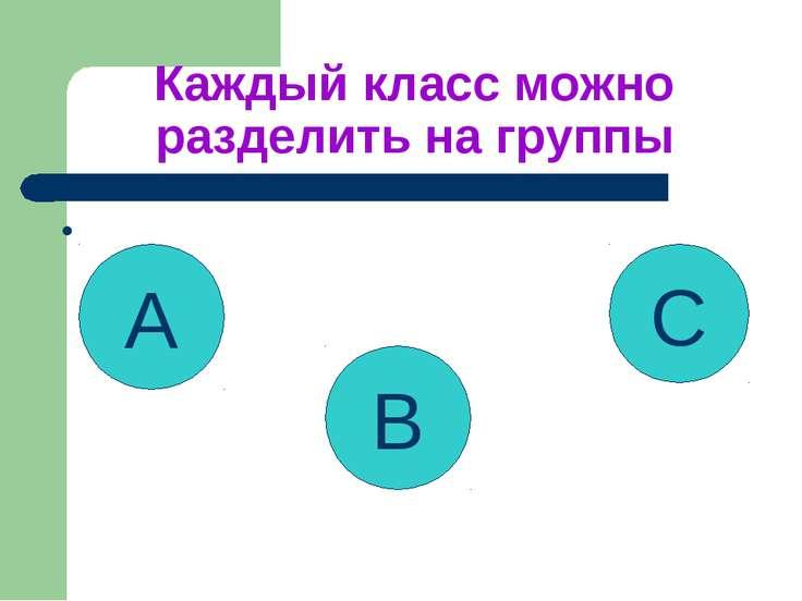 Каждый класс можно разделить на группы • A B C