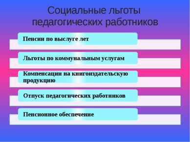 Социальные льготы педагогических работников