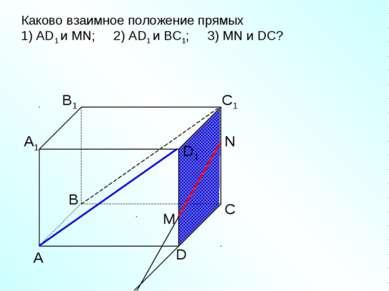 А D С В B1 С1 D1 А1 Каково взаимное положение прямых 1) AD1 и МN; 2) AD1 и ВС...