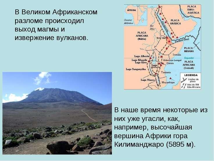 В Великом Африканском разломе происходил выход магмы и извержение вулканов. В...