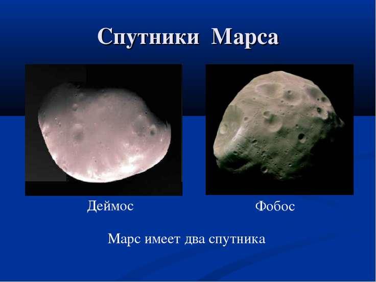 Спутники Марса Марс имеет два спутника Деймос Фобос