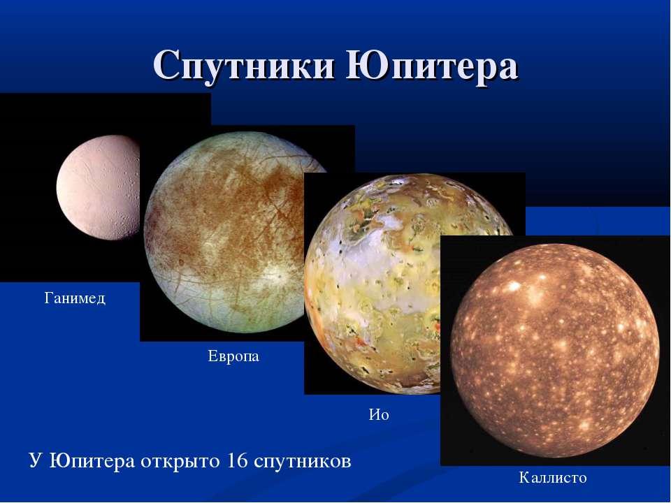 Спутники Юпитера Ганимед Европа Ио Каллисто У Юпитера открыто 16 спутников