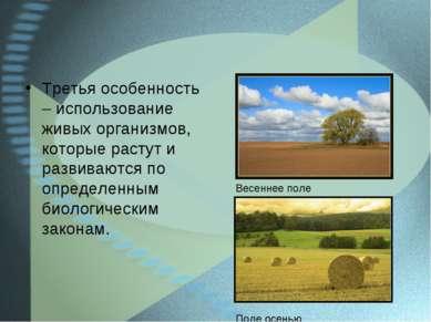 Третья особенность – использование живых организмов, которые растут и развива...