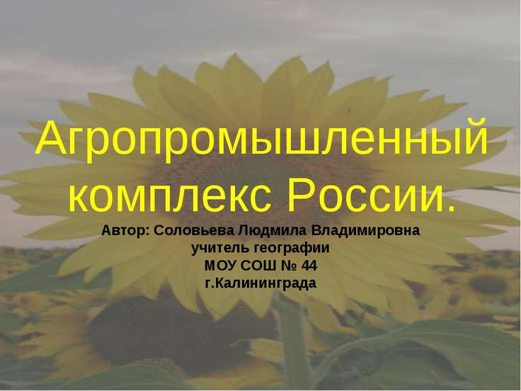 Агропромышленный комплекс России. Автор: Соловьева Людмила Владимировна учите...