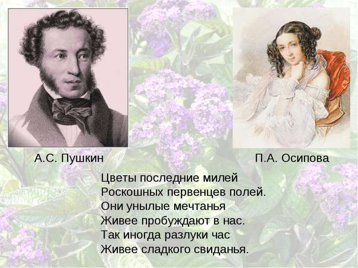 Цветы последние милей Роскошных первенцев полей. Они унылые мечтанья Живее пр...