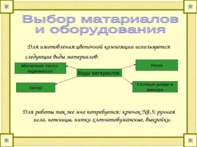 Для изготовления цветочной композиции используются следующие виды материалов:...