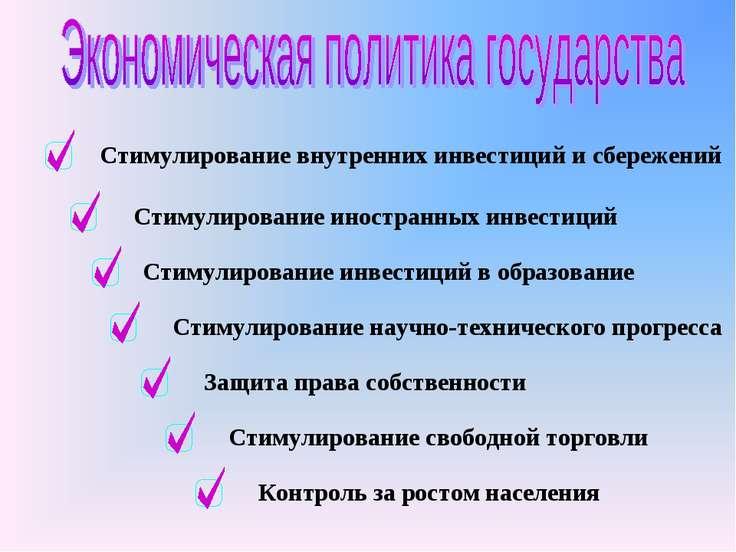 Стимулирование внутренних инвестиций и сбережений Стимулирование иностранных ...