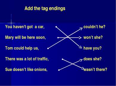 Add the tag endings You haven't got a car, Mary will be here soon, Tom could ...