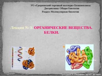 Преподаватель: Погребнёв Сергей Сергеевич Лекция № 3. ОРГАНИЧЕСКИЕ ВЕЩЕСТВА. ...