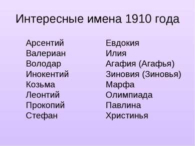 Интересные имена 1910 года Евдокия Илия Агафия (Агафья) Зиновия (Зиновья) Мар...