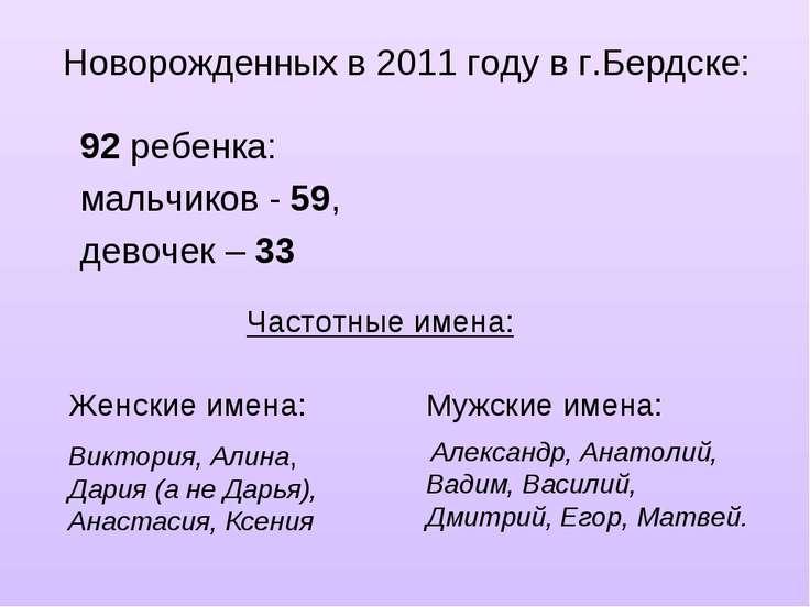 Новорожденных в 2011 году в г.Бердске: 92 ребенка: мальчиков - 59, девочек – ...