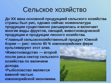 Сельское хозяйство До XX века основной продукцией сельского хозяйства страны ...