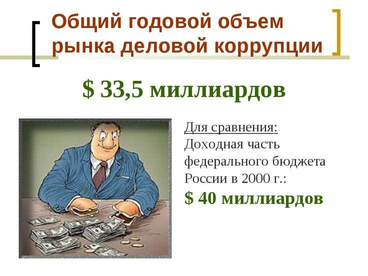 Общий годовой объем рынка деловой коррупции $ 33,5 миллиардов Для сравнения: ...