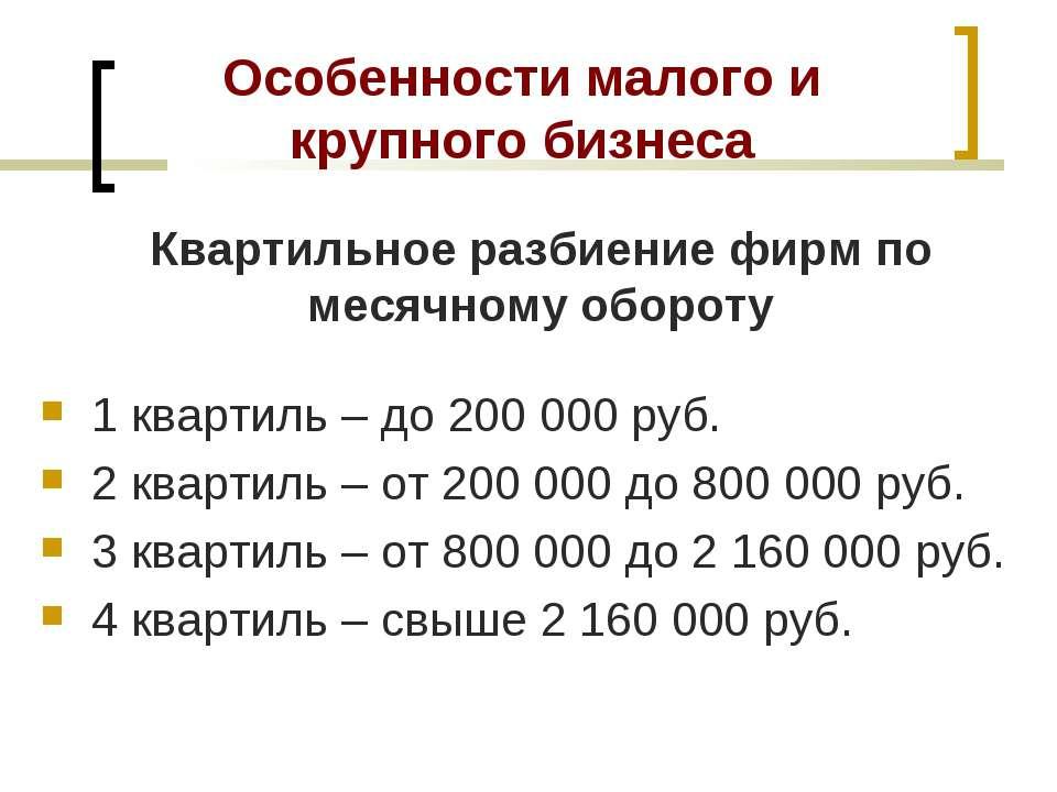 Особенности малого и крупного бизнеса 1 квартиль – до 200 000 руб. 2 квартиль...