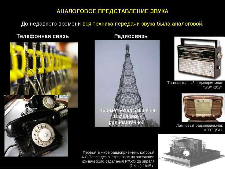АНАЛОГОВОЕ ПРЕДСТАВЛЕНИЕ ЗВУКА До недавнего времени вся техника передачи звук...