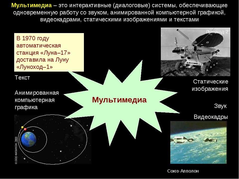 Мультимедиа – это интерактивные (диалоговые) системы, обеспечивающие одноврем...