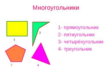 Многоугольники 1- прямоугольник 2- пятиугольник 3- четырёхугольник 4- треугол...