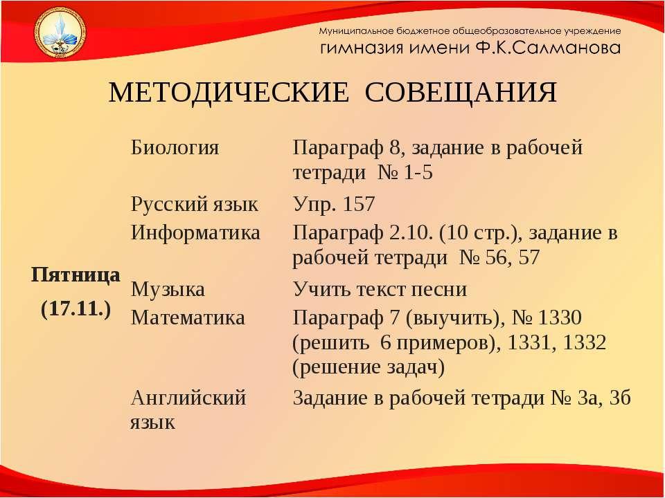 МЕТОДИЧЕСКИЕ СОВЕЩАНИЯ Пятница (17.11.) Биология Параграф 8, задание в рабоче...