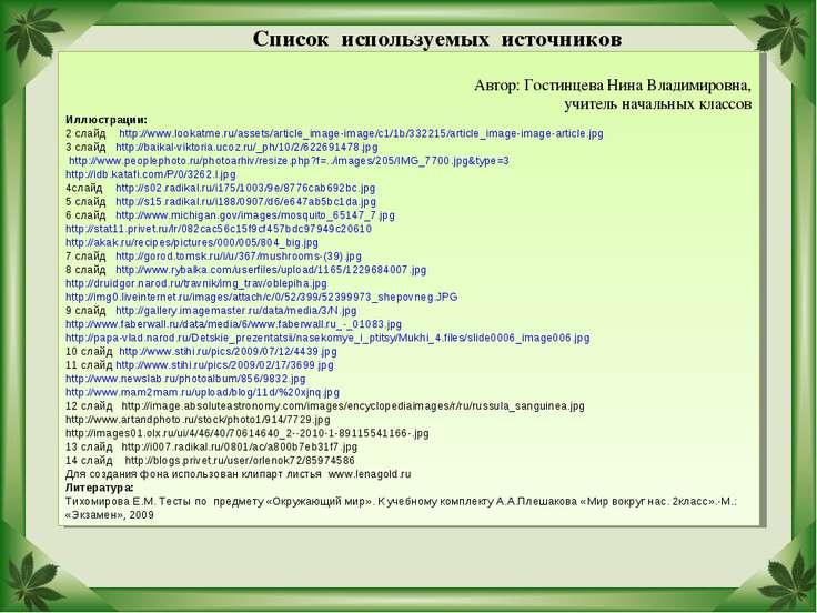 Список используемых источников Автор: Гостинцева Нина Владимировна, учитель н...