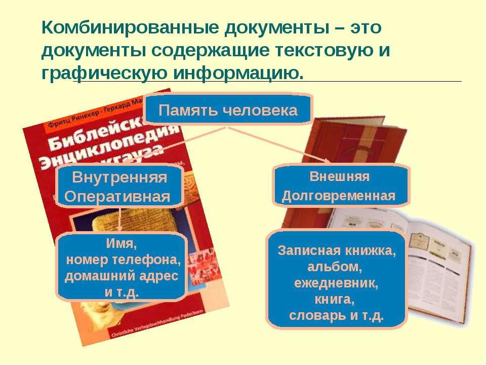 Комбинированные документы – это документы содержащие текстовую и графическую ...