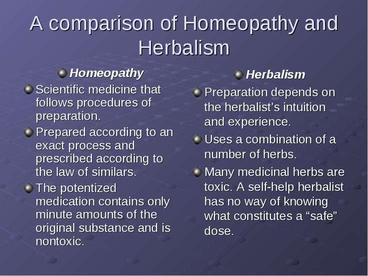 A comparison of Homeopathy and Herbalism Homeopathy Scientific medicine that ...