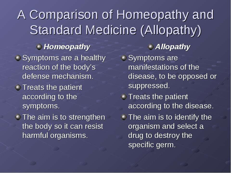 A Comparison of Homeopathy and Standard Medicine (Allopathy) Homeopathy Sympt...