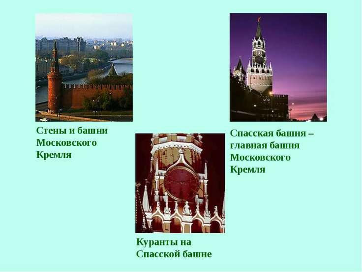 Стены и башни Московского Кремля Спасская башня – главная башня Московского К...