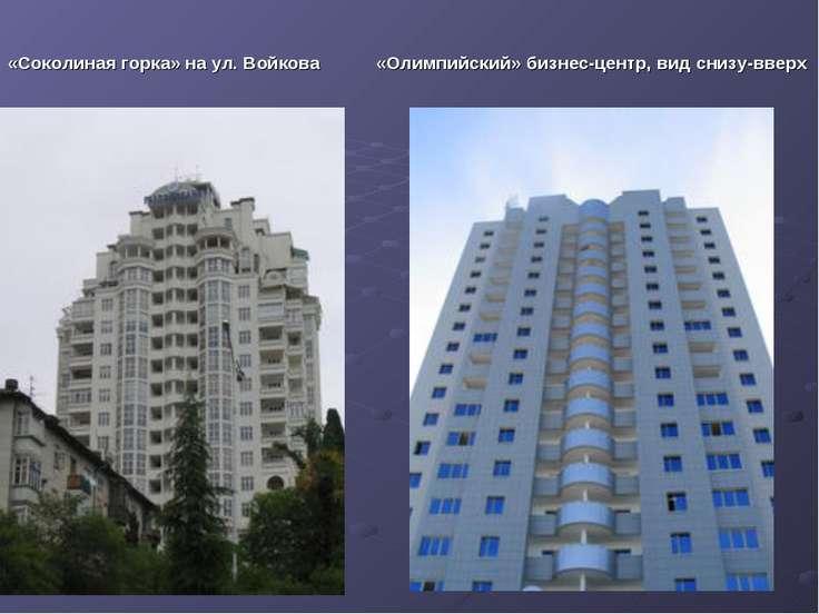«Соколиная горка» на ул. Войкова «Олимпийский» бизнес-центр, вид снизу-вверх