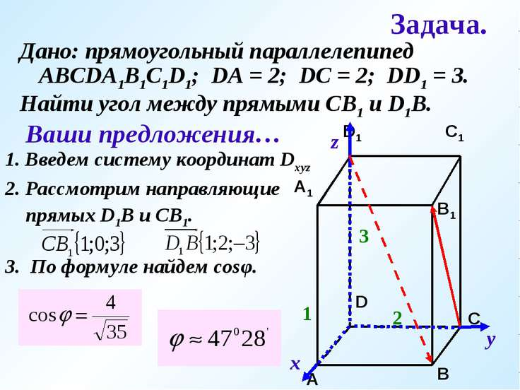 Задача. Дано: прямоугольный параллелепипед АВСDA1B1C1D1; DA = 2; DC = 2; DD1 ...
