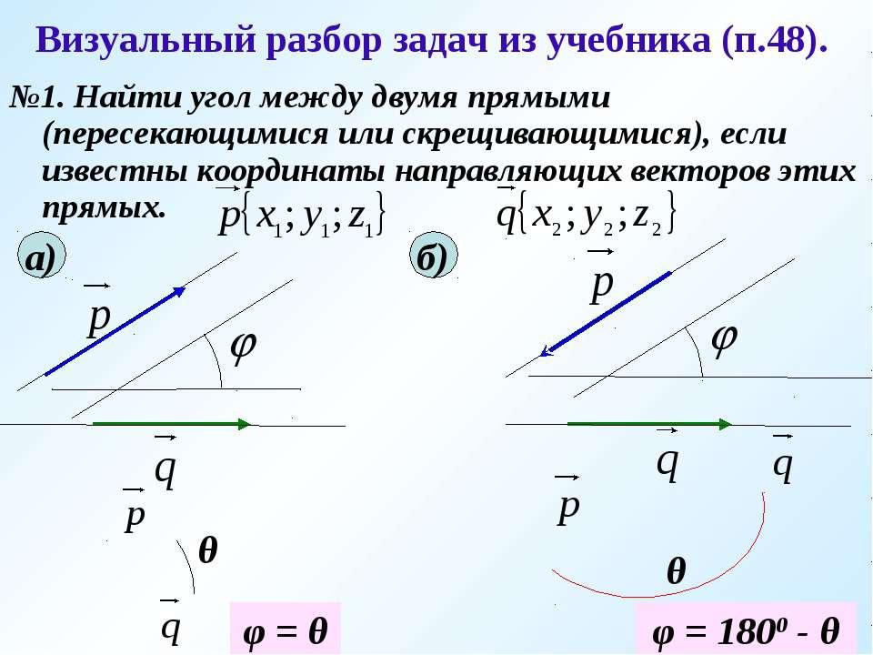 Визуальный разбор задач из учебника (п.48). №1. Найти угол между двумя прямым...