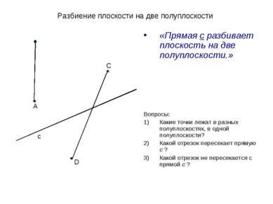 Разбиение плоскости на две полуплоскости «Прямая с разбивает плоскость на две...