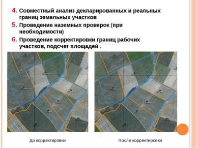 Совместный анализ декларированных и реальных границ земельных участков Провед...
