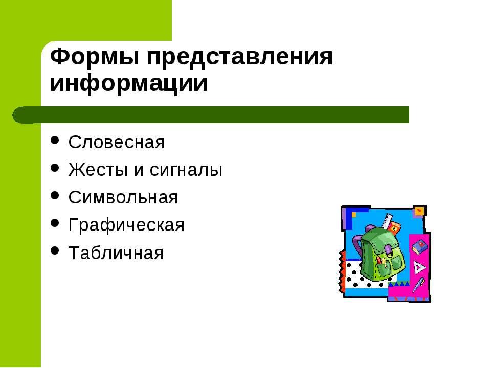 Формы представления информации Словесная Жесты и сигналы Символьная Графическ...