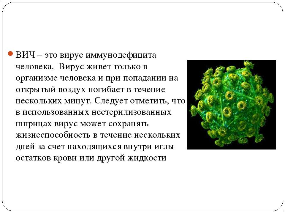 ВИЧ – это вирус иммунодефицита человека. Вирус живет только в организме чело...