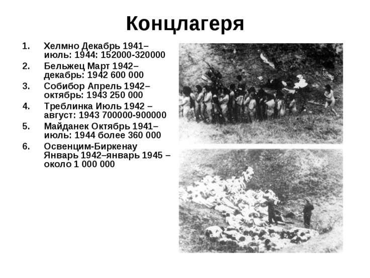 Концлагеря Хелмно Декабрь 1941–июль: 1944: 152000-320000 Бельжец Март 1942–де...