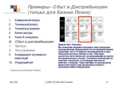 May, 2005 (c) 2005, US Civilian R&D Foundation * Примеры– Сбыт и Дистрибьюшен...